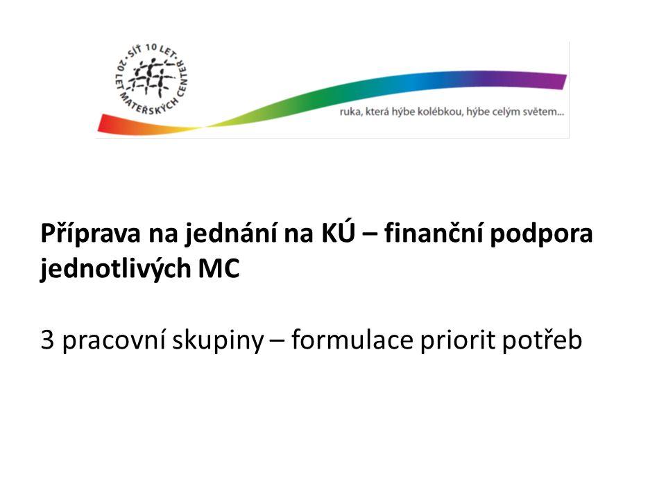 Příprava na jednání na KÚ – finanční podpora jednotlivých MC 3 pracovní skupiny – formulace priorit potřeb