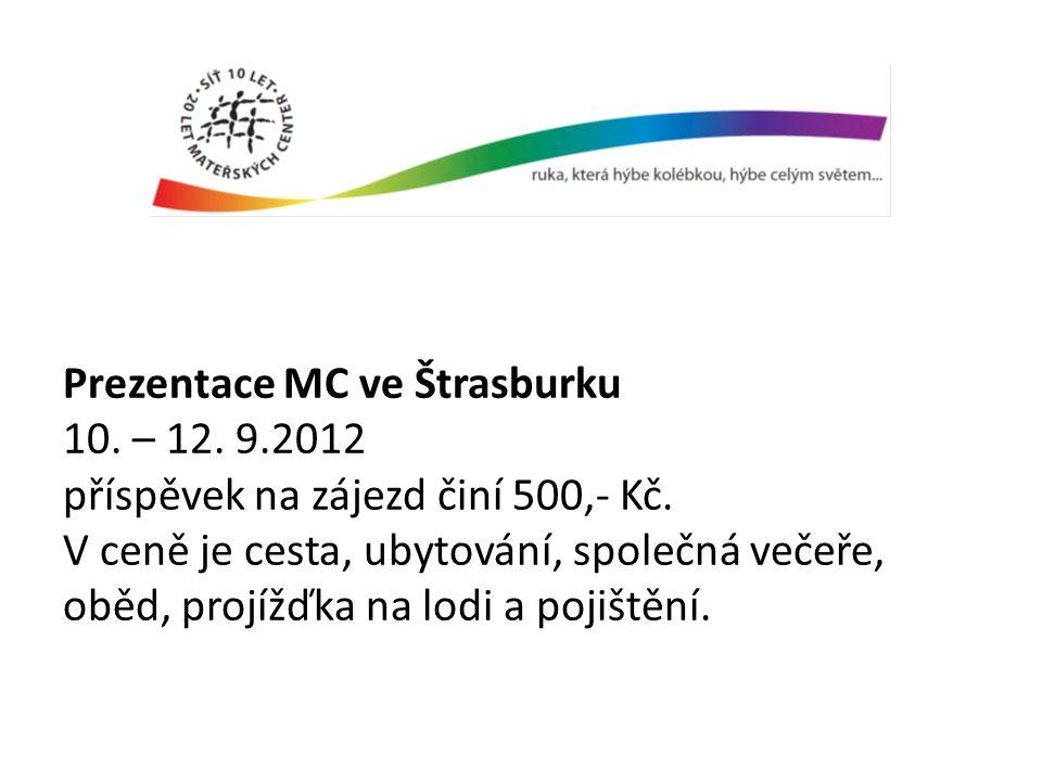 Prezentace MC ve Štrasburku 10. – 12. 9.2012 příspěvek na zájezd činí 500,- Kč.