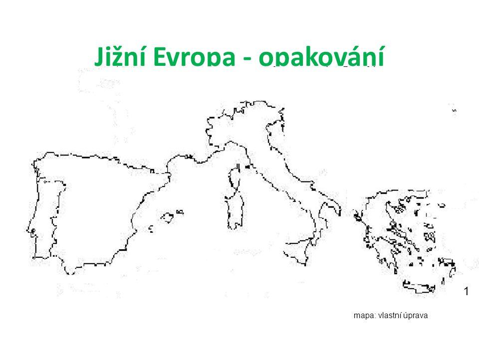 Jižní Evropa - opakování mapa: vlastní úprava 1