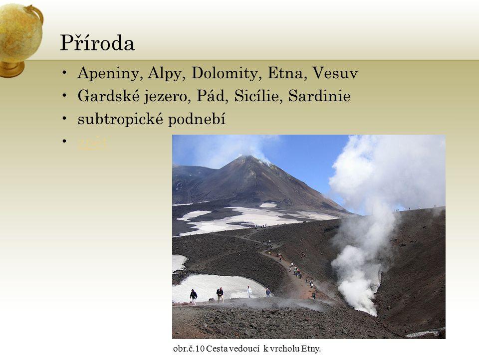Příroda Apeniny, Alpy, Dolomity, Etna, Vesuv Gardské jezero, Pád, Sicílie, Sardinie subtropické podnebí zpět obr.č.10 Cesta vedoucí k vrcholu Etny.