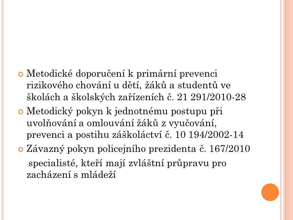 SPOLUPRÁCE ŠKOL A ŠKOLSKÝCH ZAŘÍZENÍ S POLICIÍ ČR A OSPOD pozitivní x negativní určité nedostatky při vyšetřování delikventní činnosti nepřesné znalosti zákonů a jiných právních předpisů ujasnění součinnosti škol s Policí ČR a OSPOD, zejména při vyšetřování kriminality mládeže a trestných činů páchaných na mládeži včetně DN Metodický pokyn MŠMT č.