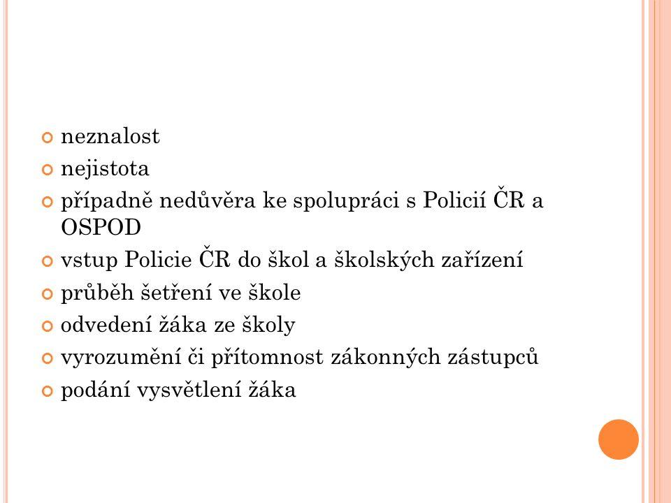 V STUP POLICISTŮ DO ŠKOL Pochybnosti k osobě policisty Předvolávání mládeže prostřednictvím zákonného zástupce, OSPOD, Probační a mediační služba.