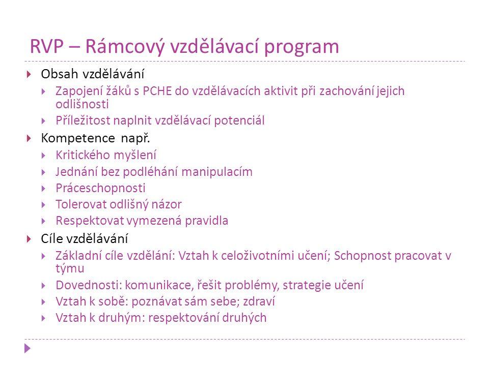 RVP – Rámcový vzdělávací program  Obsah vzdělávání  Zapojení žáků s PCHE do vzdělávacích aktivit při zachování jejich odlišnosti  Příležitost napln