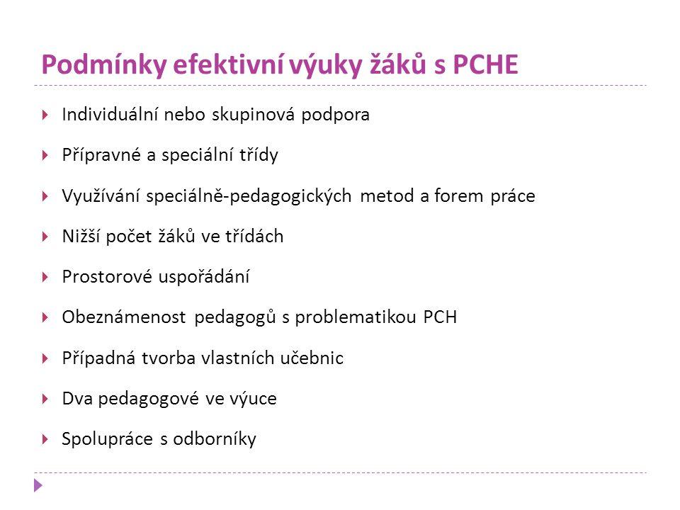 Podmínky efektivní výuky žáků s PCHE  Individuální nebo skupinová podpora  Přípravné a speciální třídy  Využívání speciálně-pedagogických metod a f