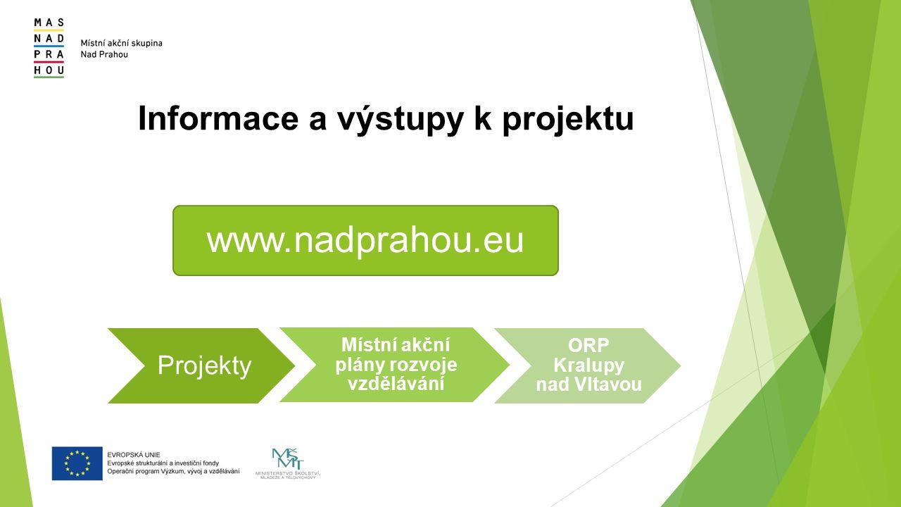 Informace a výstupy k projektu www.nadprahou.eu Projekty Místní akční plány rozvoje vzdělávání ORP Kralupy nad Vltavou
