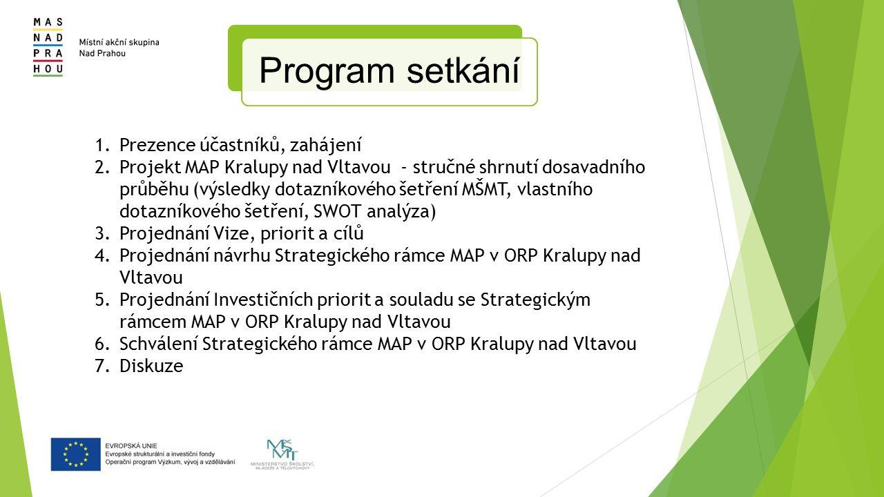 1.Prezence účastníků, zahájení 2.Projekt MAP Kralupy nad Vltavou - stručné shrnutí dosavadního průběhu (výsledky dotazníkového šetření MŠMT, vlastního dotazníkového šetření, SWOT analýza) 3.Projednání Vize, priorit a cílů 4.Projednání návrhu Strategického rámce MAP v ORP Kralupy nad Vltavou 5.Projednání Investičních priorit a souladu se Strategickým rámcem MAP v ORP Kralupy nad Vltavou 6.Schválení Strategického rámce MAP v ORP Kralupy nad Vltavou 7.Diskuze Program setkání