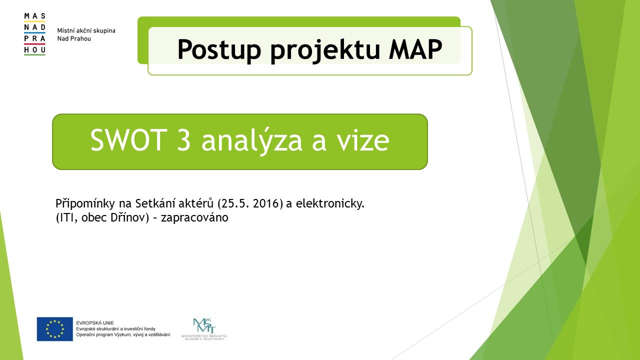 Postup projektu MAP Připomínky na Setkání aktérů (25.5.