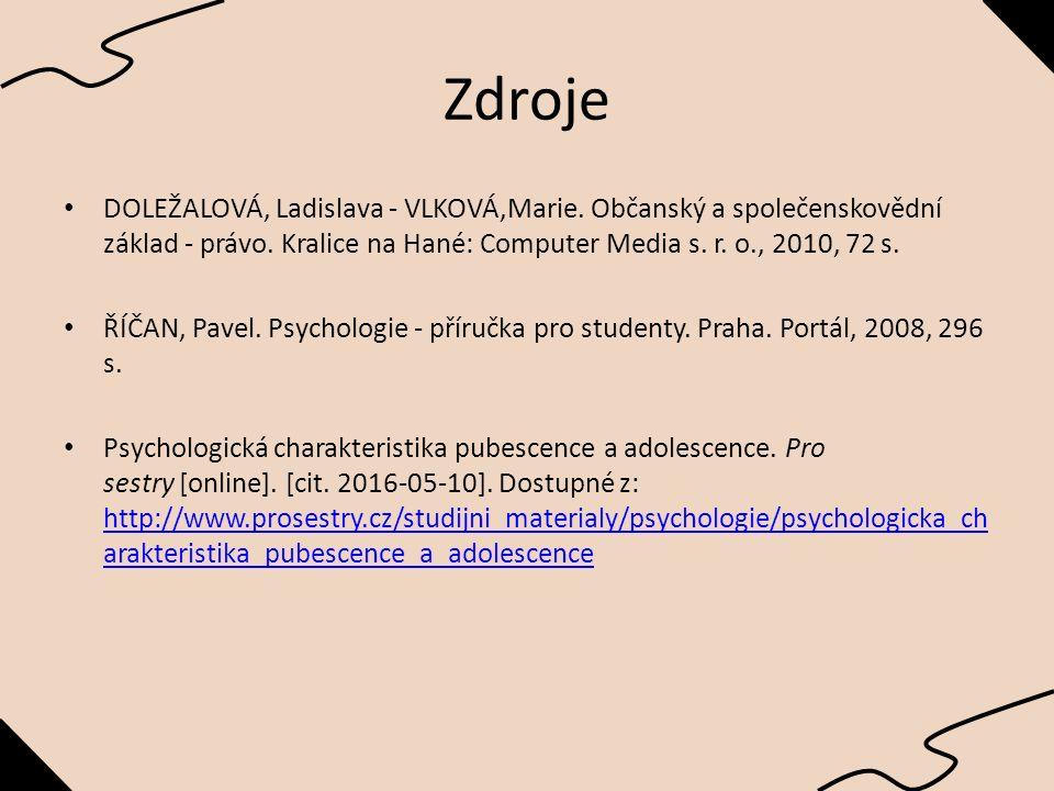 Zdroje DOLEŽALOVÁ, Ladislava - VLKOVÁ,Marie.Občanský a společenskovědní základ - právo.