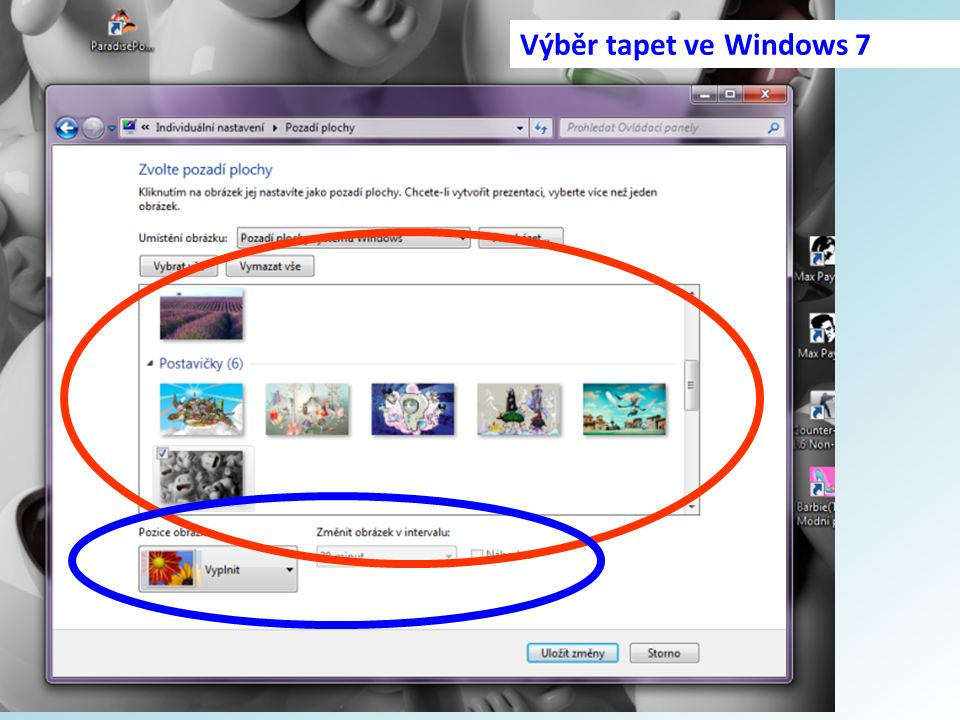 Výběr tapet ve Windows 7
