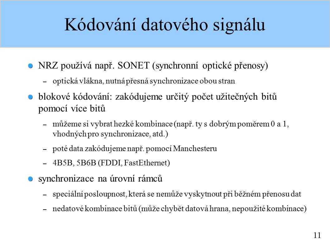 11 Kódování datového signálu NRZ používá např. SONET (synchronní optické přenosy) – optická vlákna, nutná přesná synchronizace obou stran blokové kódo