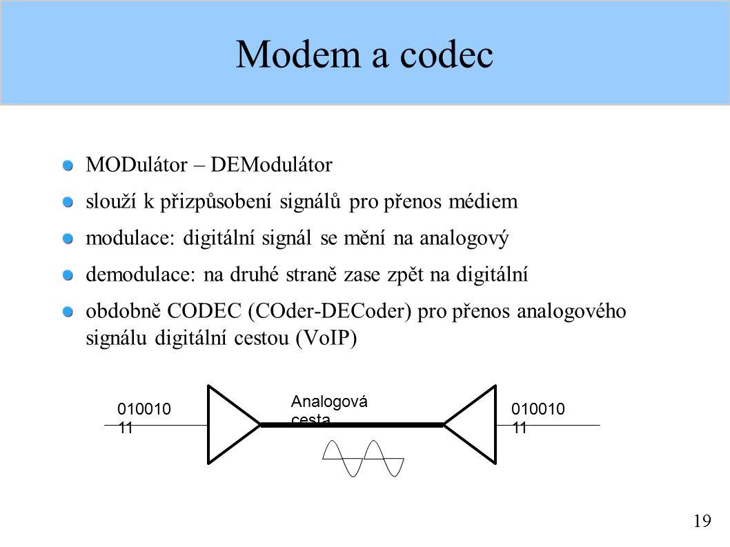 19 Modem a codec MODulátor – DEModulátor slouží k přizpůsobení signálů pro přenos médiem modulace: digitální signál se mění na analogový demodulace: n
