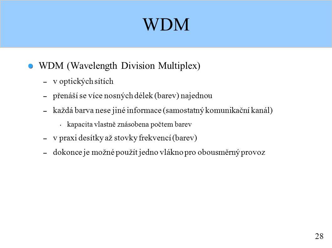 28 WDM WDM (Wavelength Division Multiplex) – v optických sítích – přenáší se více nosných délek (barev) najednou – každá barva nese jiné informace (sa