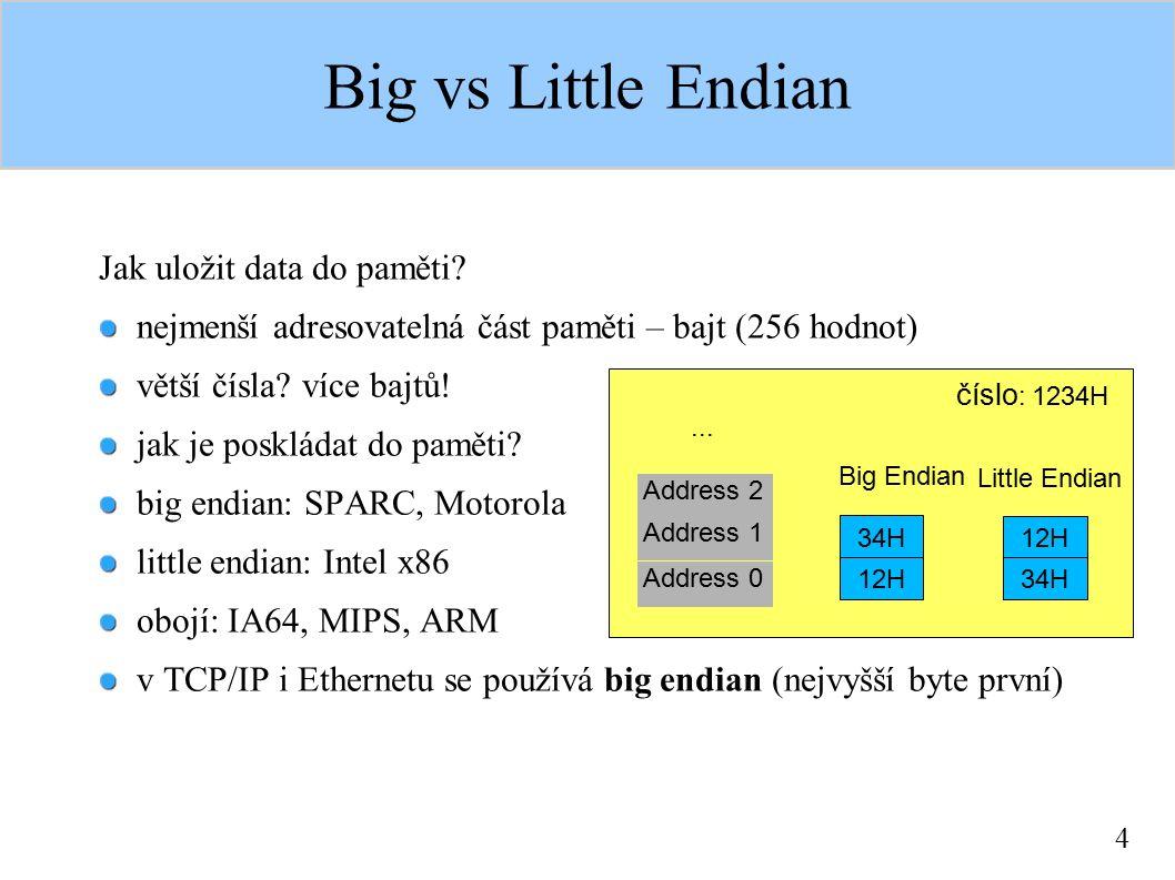 4 Big vs Little Endian Jak uložit data do paměti? nejmenší adresovatelná část paměti – bajt (256 hodnot) větší čísla? více bajtů! jak je poskládat do