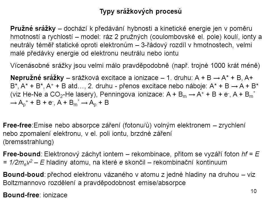 10 Typy srážkových procesů Free-free:Emise nebo absorpce záření (fotonu/ů) volným elektronem – zrychlení nebo zpomalení elektronu, v el.