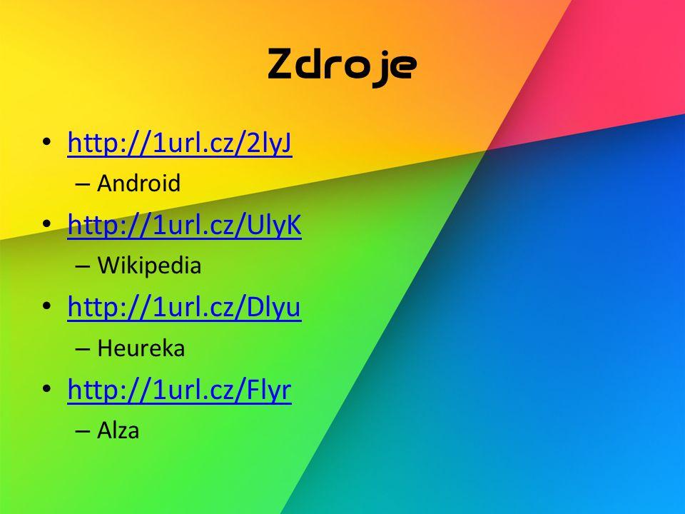 Zdroje http://1url.cz/2lyJ – Android http://1url.cz/UlyK – Wikipedia http://1url.cz/Dlyu – Heureka http://1url.cz/Flyr – Alza