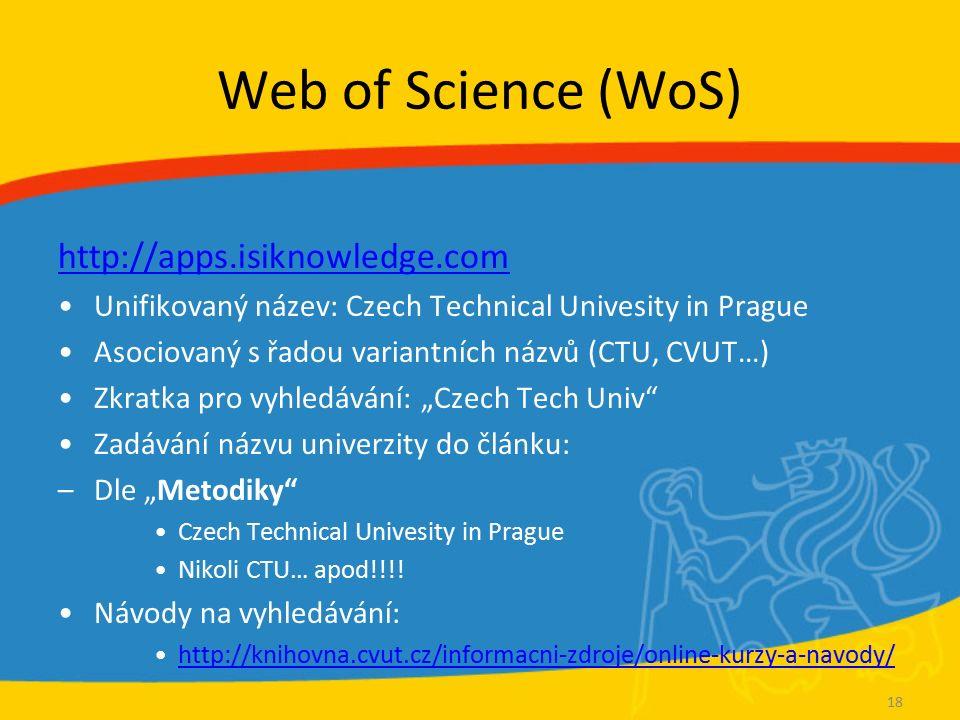 Web of Science (WoS) http://apps.isiknowledge.com Unifikovaný název: Czech Technical Univesity in Prague Asociovaný s řadou variantních názvů (CTU, CV