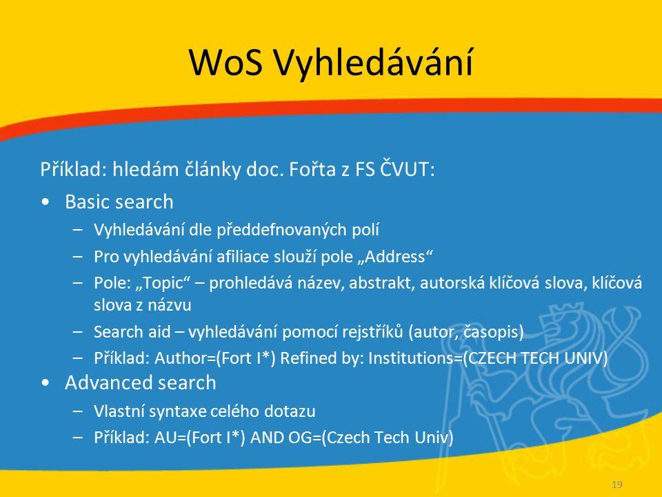 WoS Vyhledávání Příklad: hledám články doc. Fořta z FS ČVUT: Basic search –Vyhledávání dle předdefnovaných polí –Pro vyhledávání afiliace slouží pole