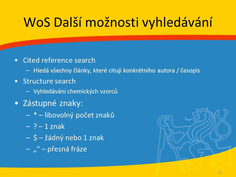 WoS Další možnosti vyhledávání Cited reference search –Hledá všechny články, které citují konkrétního autora / časopis Structure search –Vyhledávání c