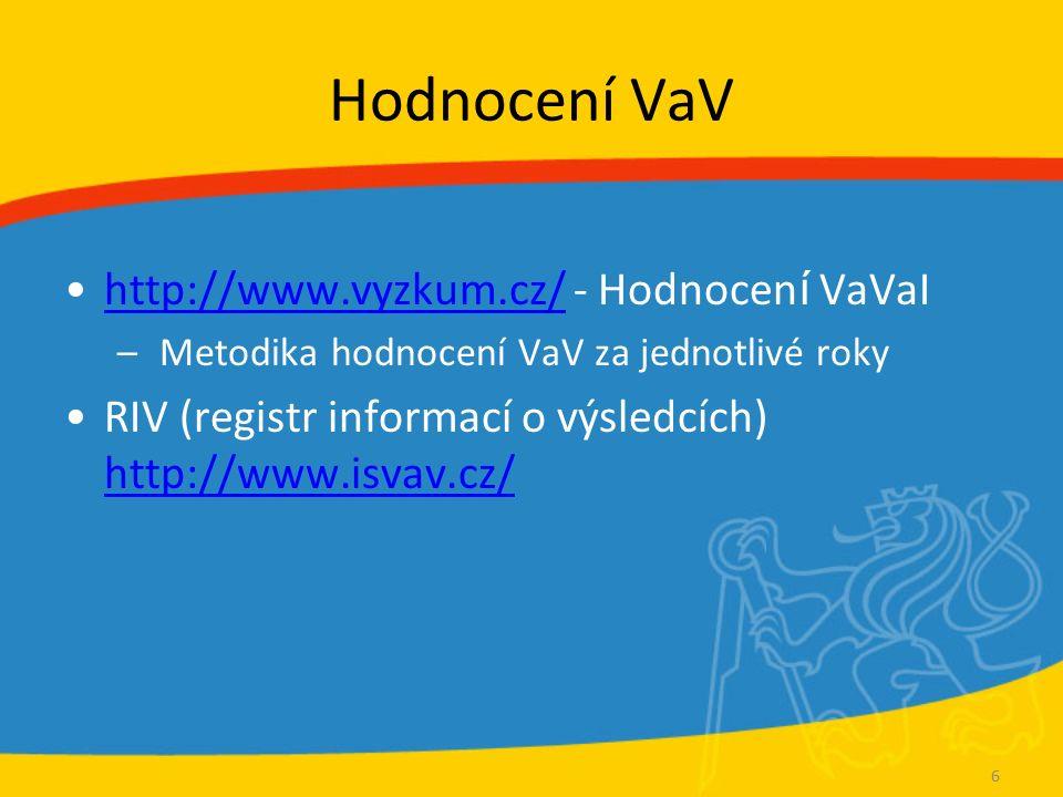 Hodnocení VaV http://www.vyzkum.cz/ - Hodnocen í VaVaIhttp://www.vyzkum.cz/ – Metodika hodnocení VaV za jednotlivé roky RIV (registr informací o výsledcích) http://www.isvav.cz/ http://www.isvav.cz/ 6