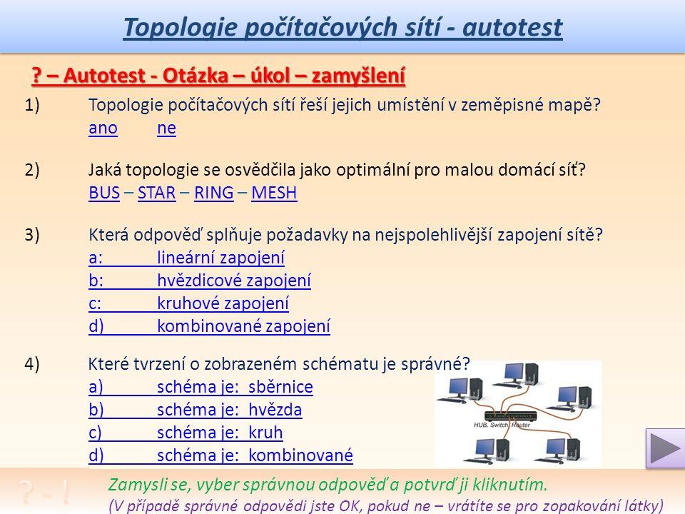 Topologie počítačových sítí - úkol Úkol: Rozšíření popisu, zapojení, výhod a nevýhod základních topologií.