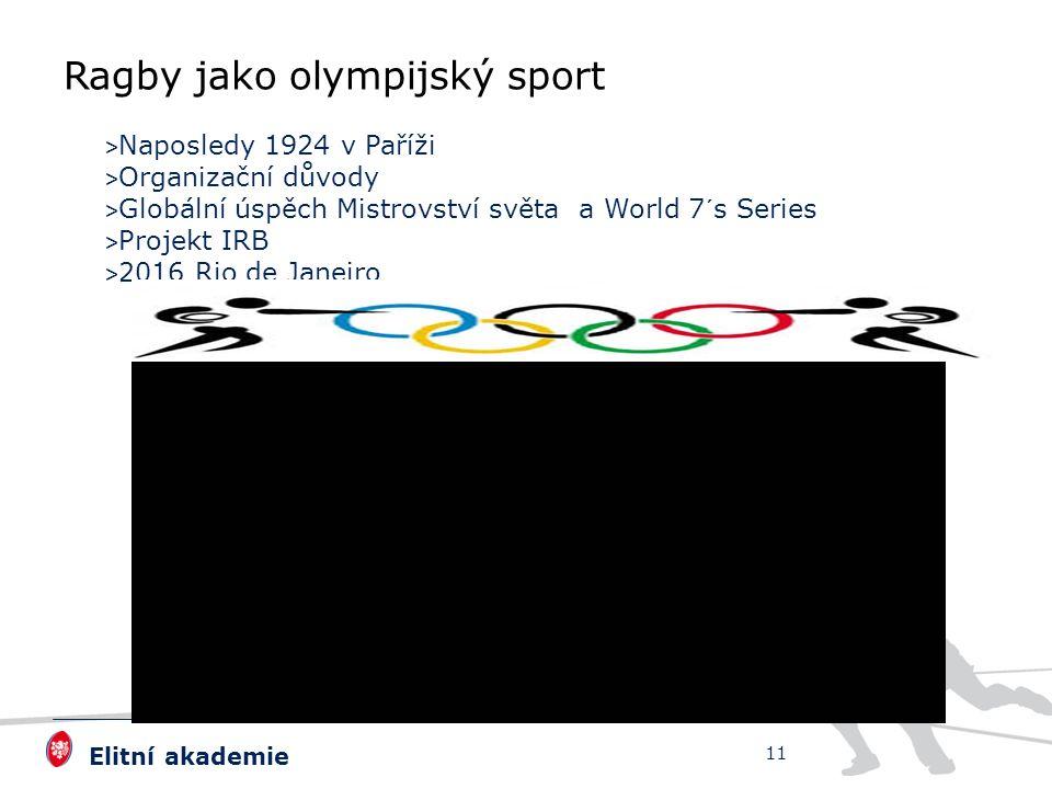 Elitní akademie > Naposledy 1924 v Paříži > Organizační důvody > Globální úspěch Mistrovství světa a World 7´s Series > Projekt IRB > 2016 Rio de Janeiro 11 Ragby jako olympijský sport