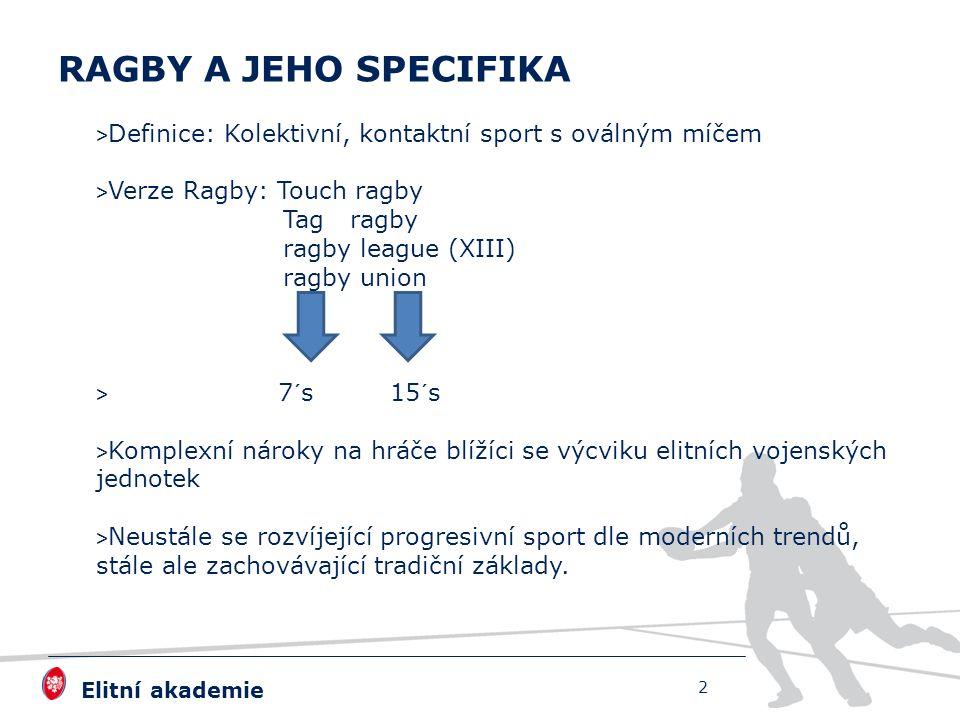 Elitní akademie > Definice: Kolektivní, kontaktní sport s oválným míčem > Verze Ragby: Touch ragby Tag ragby ragby league (XIII) ragby union > 7´s 15´s > Komplexní nároky na hráče blížíci se výcviku elitních vojenských jednotek > Neustále se rozvíjející progresivní sport dle moderních trendů, stále ale zachovávající tradiční základy.