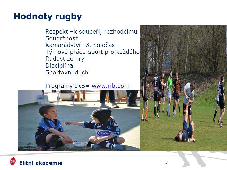 Elitní akademie Hodnoty rugby Respekt –k soupeři, rozhodčímu Soudržnost Kamarádství -3. poločas Týmová práce-sport pro každého Radost ze hry Disciplín