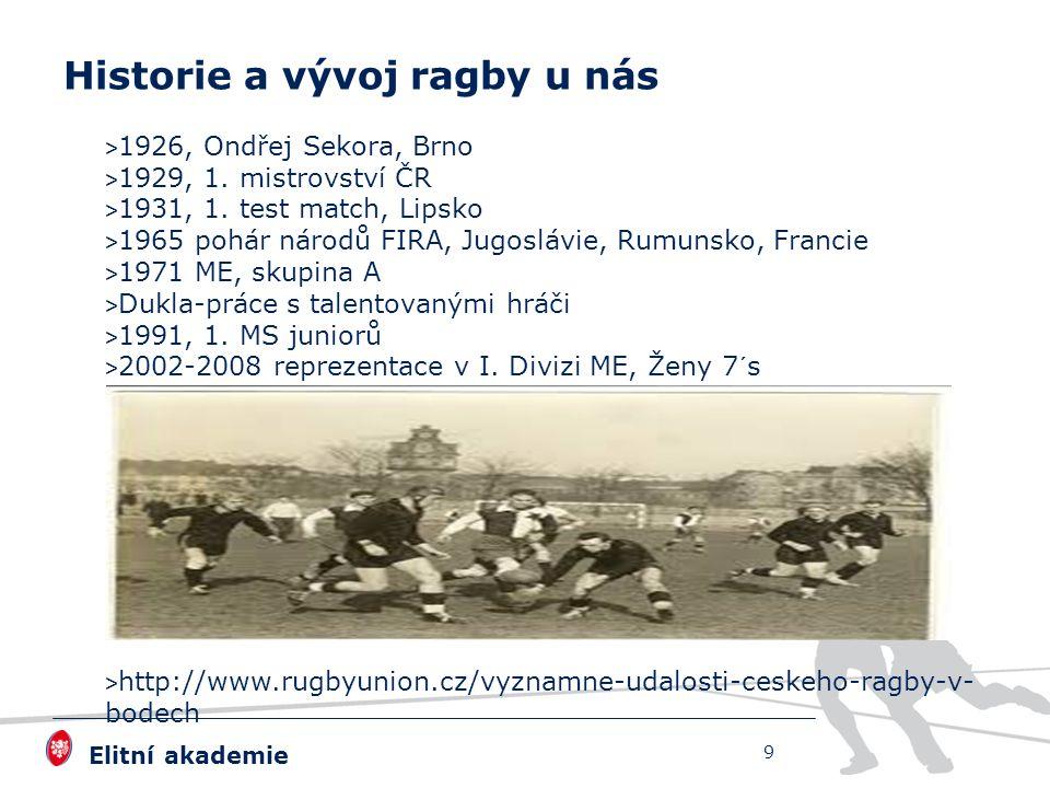Elitní akademie > 1926, Ondřej Sekora, Brno > 1929, 1. mistrovství ČR > 1931, 1. test match, Lipsko > 1965 pohár národů FIRA, Jugoslávie, Rumunsko, Fr