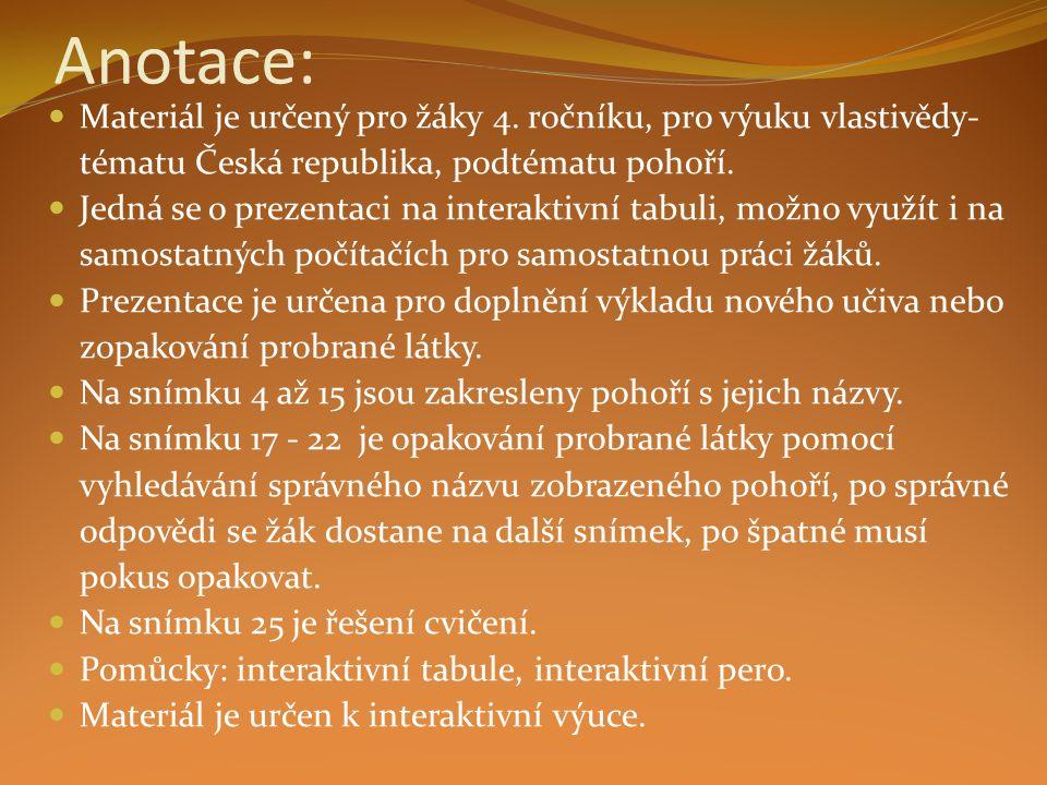Anotace: Materiál je určený pro žáky 4. ročníku, pro výuku vlastivědy- tématu Česká republika, podtématu pohoří. Jedná se o prezentaci na interaktivní