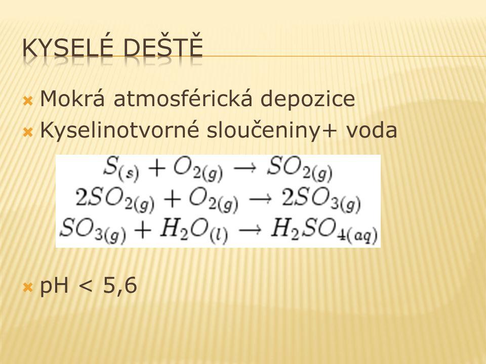  Mokrá atmosférická depozice  Kyselinotvorné sloučeniny+ voda  pH < 5,6