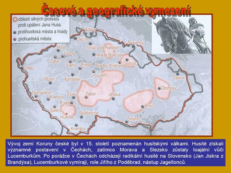Vývoj zemí Koruny české byl v 15.století poznamenán husitskými válkami.