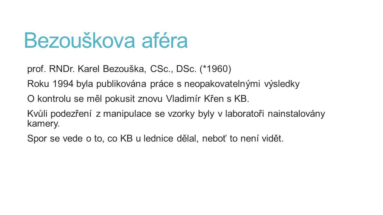 Bezouškova aféra prof. RNDr. Karel Bezouška, CSc., DSc. (*1960) Roku 1994 byla publikována práce s neopakovatelnými výsledky O kontrolu se měl pokusit