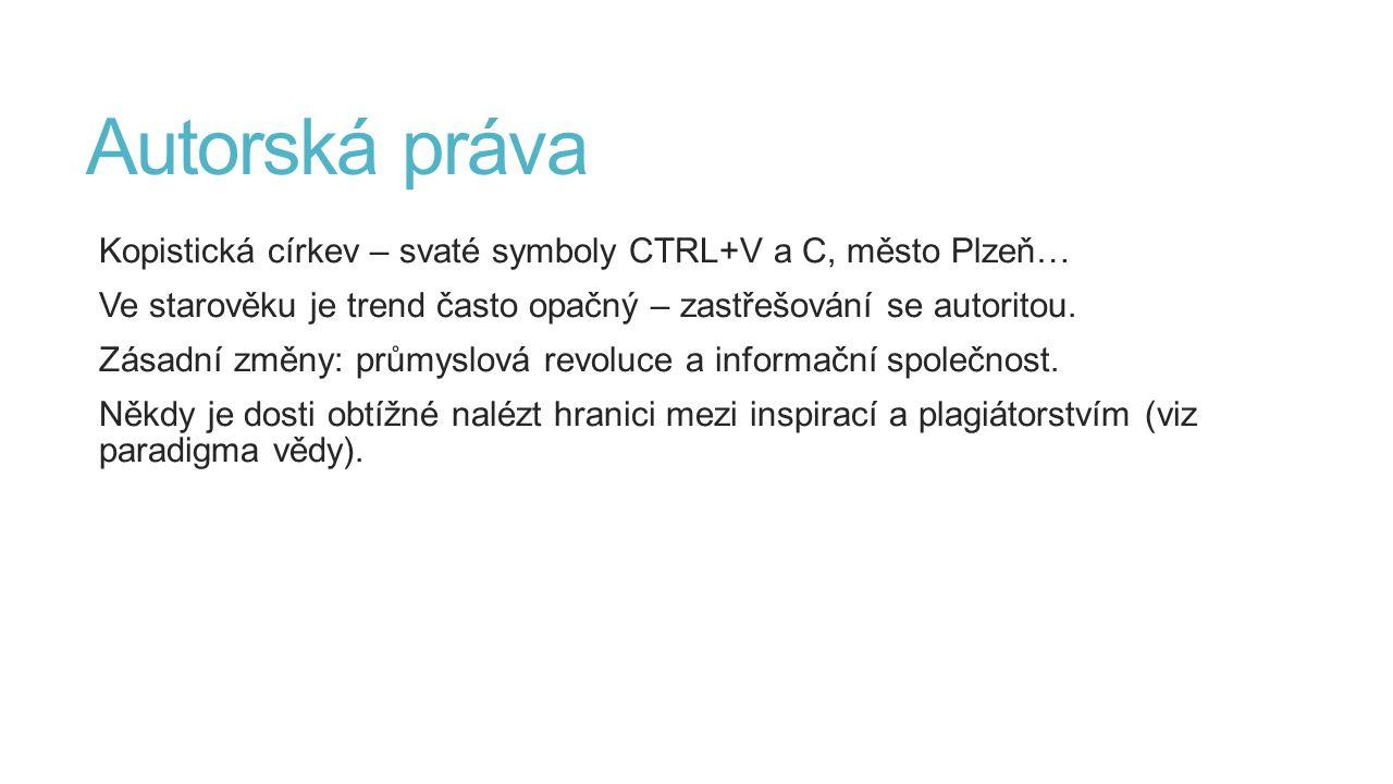 Autorská práva Kopistická církev – svaté symboly CTRL+V a C, město Plzeň… Ve starověku je trend často opačný – zastřešování se autoritou. Zásadní změn