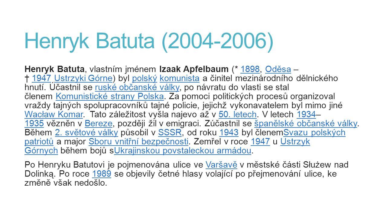 Henryk Batuta (2004-2006) Henryk Batuta, vlastním jménem Izaak Apfelbaum (* 1898, Oděsa – † 1947 Ustrzyki Górne) byl polský komunista a činitel meziná