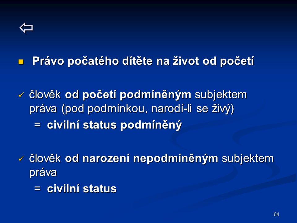 64  Právo počatého dítěte na život od početí Právo počatého dítěte na život od početí člověk od početí podmíněným subjektem práva (pod podmínkou, narodí-li se živý) člověk od početí podmíněným subjektem práva (pod podmínkou, narodí-li se živý) = civilní status podmíněný = civilní status podmíněný člověk od narození nepodmíněným subjektem práva člověk od narození nepodmíněným subjektem práva = civilní status = civilní status