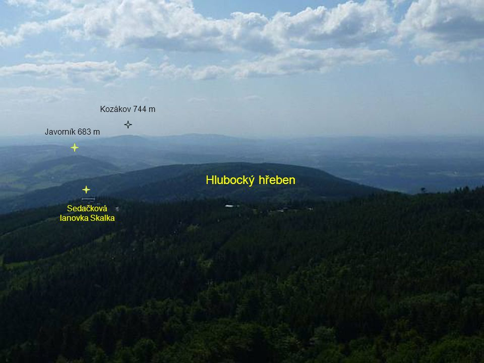 Hlubocký hřeben Sedačková lanovka Skalka Javorník 683 m Kozákov 744 m