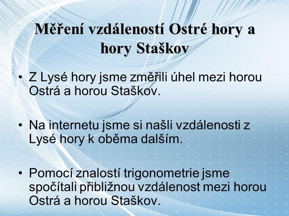 Měření vzdáleností Ostré hory a hory Staškov Z Lysé hory jsme změřili úhel mezi horou Ostrá a horou Staškov.