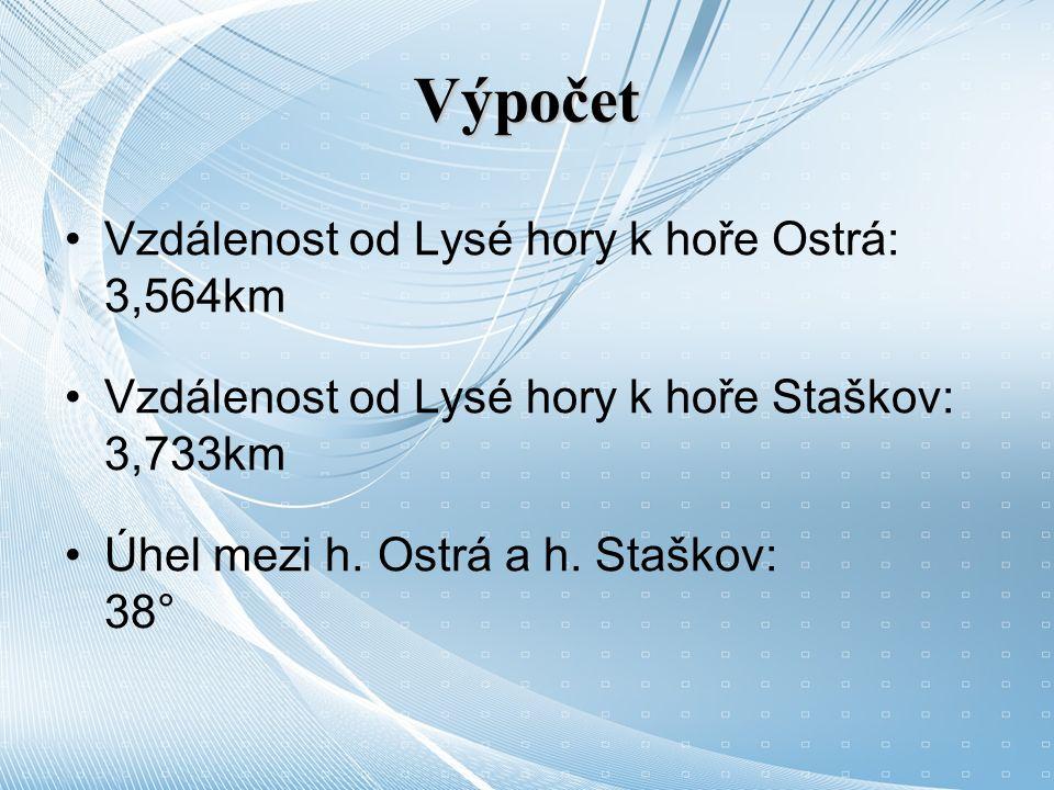 Výpočet Vzdálenost od Lysé hory k hoře Ostrá: 3,564km Vzdálenost od Lysé hory k hoře Staškov: 3,733km Úhel mezi h.