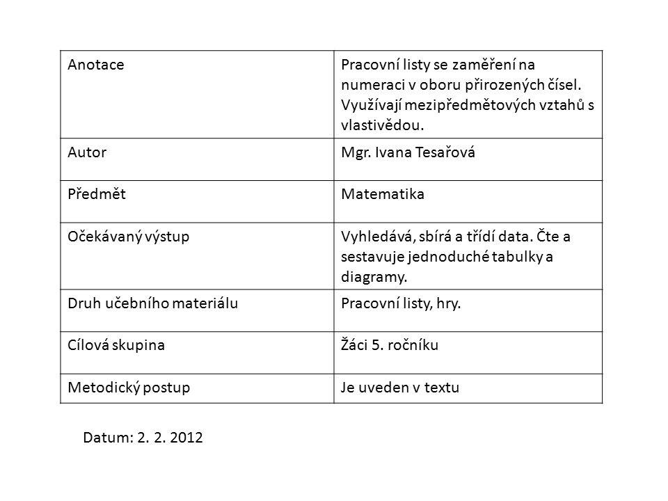 AnotacePracovní listy se zaměření na numeraci v oboru přirozených čísel.