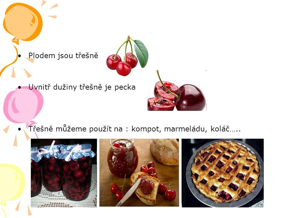Plodem jsou třešně Uvnitř dužiny třešně je pecka Třešně můžeme použít na : kompot, marmeládu, koláč…..