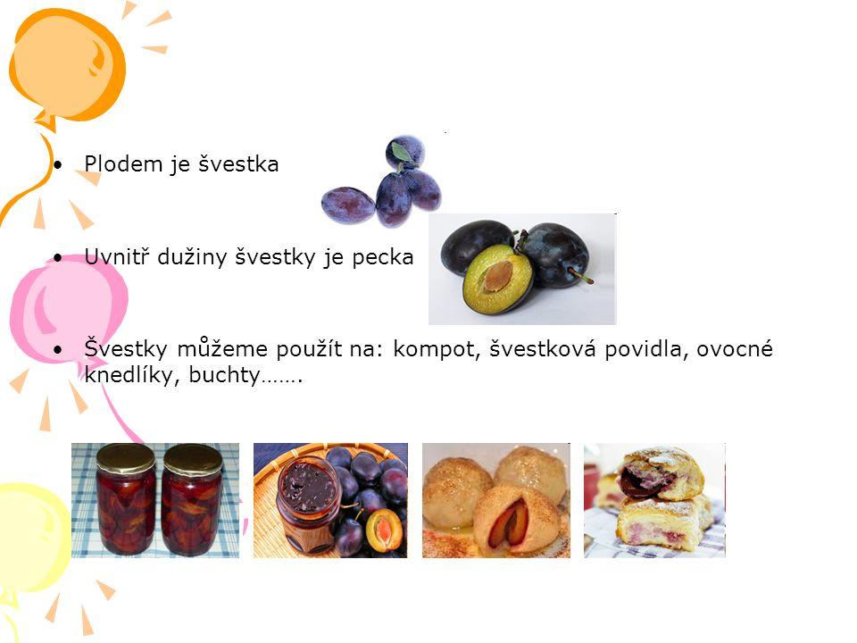Plodem je švestka Uvnitř dužiny švestky je pecka Švestky můžeme použít na: kompot, švestková povidla, ovocné knedlíky, buchty…….