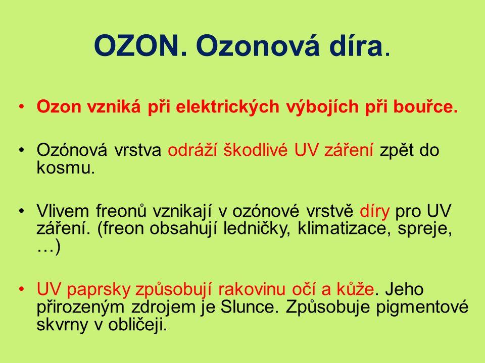 OZON. Ozonová díra. Ozon vzniká při elektrických výbojích při bouřce.