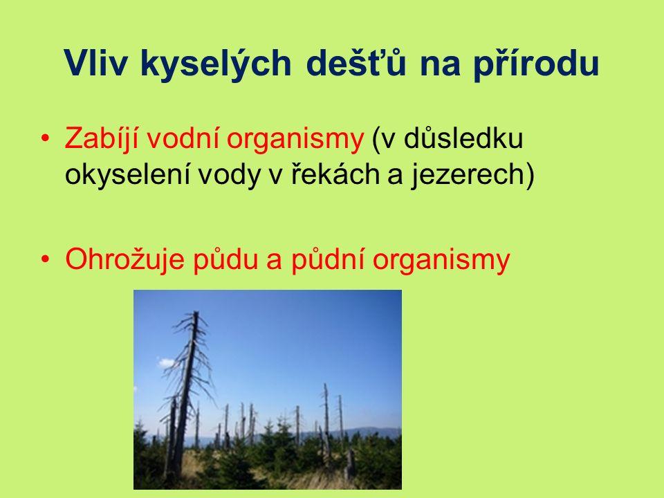 Vliv kyselých dešťů na přírodu Zabíjí vodní organismy (v důsledku okyselení vody v řekách a jezerech) Ohrožuje půdu a půdní organismy
