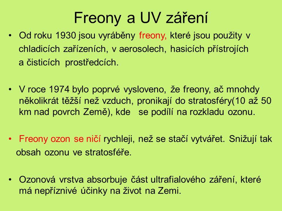 Freony a UV záření Od roku 1930 jsou vyráběny freony, které jsou použity v chladicích zařízeních, v aerosolech, hasicích přístrojích a čisticích prostředcích.