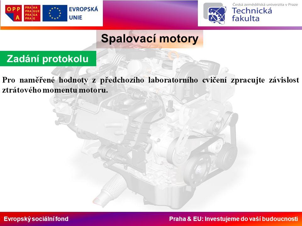 Evropský sociální fond Praha & EU: Investujeme do vaší budoucnosti Spalovací motory Zadání protokolu Pro naměřené hodnoty z předchozího laboratorního cvičení zpracujte závislost ztrátového momentu motoru.