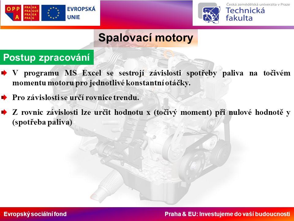 Evropský sociální fond Praha & EU: Investujeme do vaší budoucnosti Spalovací motory Postup zpracování V programu MS Excel se sestrojí závislosti spotřeby paliva na točivém momentu motoru pro jednotlivé konstantní otáčky.
