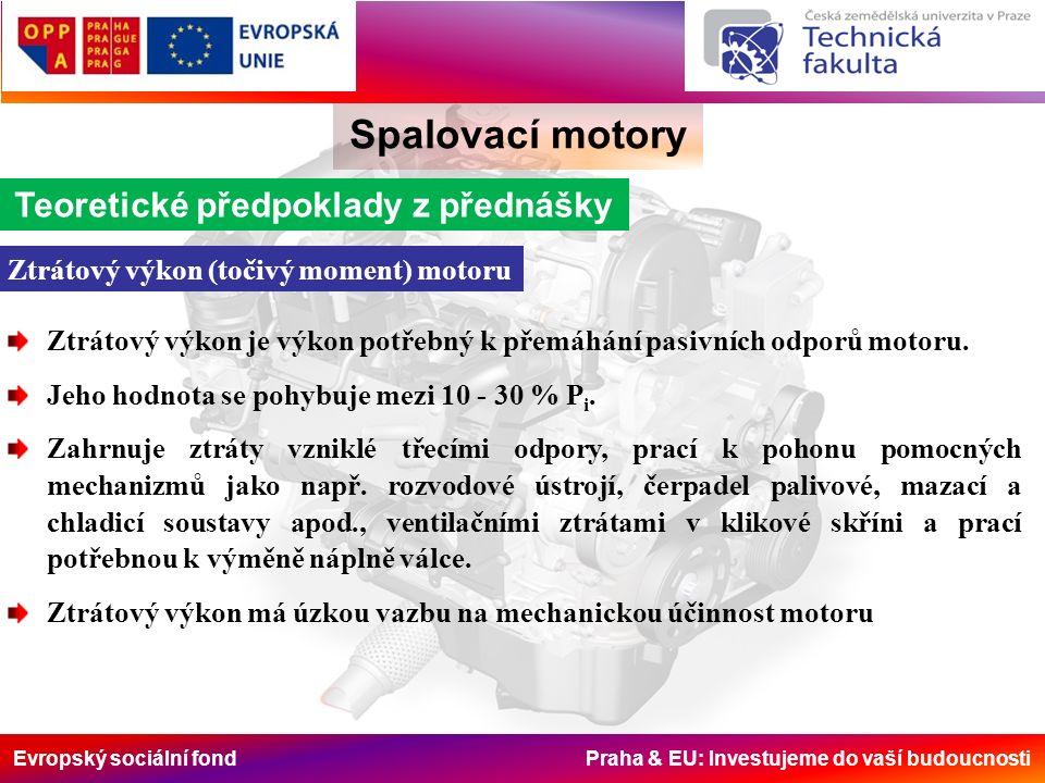Evropský sociální fond Praha & EU: Investujeme do vaší budoucnosti Spalovací motory Teoretické předpoklady z přednášky Ztrátový výkon (točivý moment) motoru Ztrátový výkon je výkon potřebný k přemáhání pasivních odporů motoru.