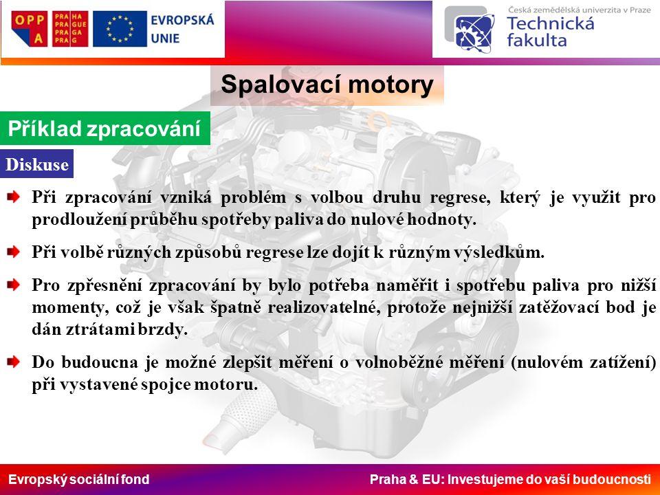 Evropský sociální fond Praha & EU: Investujeme do vaší budoucnosti Spalovací motory Příklad zpracování Diskuse Při zpracování vzniká problém s volbou druhu regrese, který je využit pro prodloužení průběhu spotřeby paliva do nulové hodnoty.