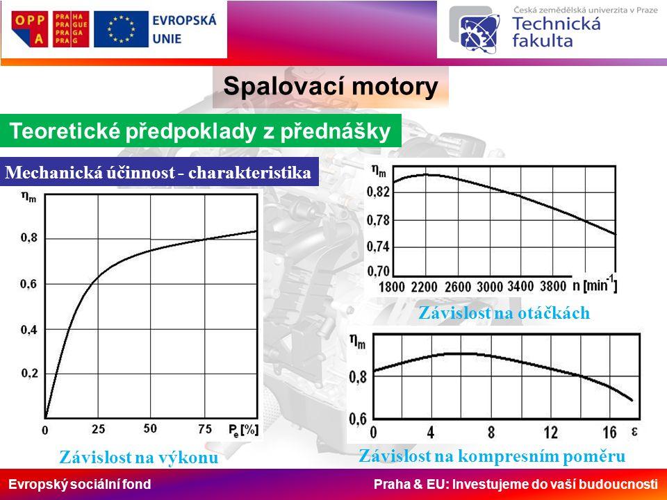 Evropský sociální fond Praha & EU: Investujeme do vaší budoucnosti Spalovací motory Teoretické předpoklady z přednášky Mechanická účinnost - charakteristika Závislost na otáčkách Závislost na kompresním poměru Závislost na výkonu