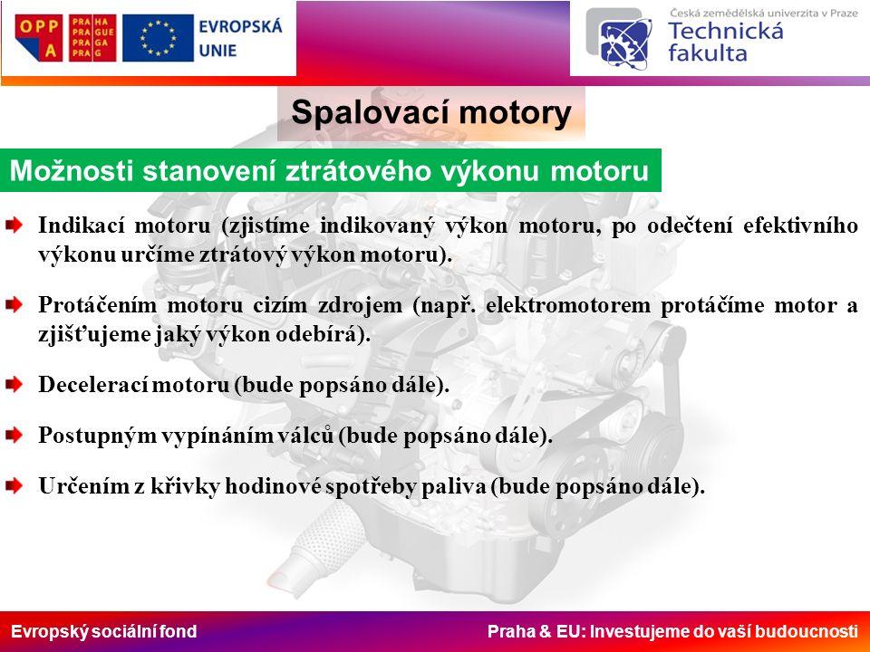 Evropský sociální fond Praha & EU: Investujeme do vaší budoucnosti Spalovací motory Možnosti stanovení ztrátového výkonu motoru Indikací motoru (zjistíme indikovaný výkon motoru, po odečtení efektivního výkonu určíme ztrátový výkon motoru).